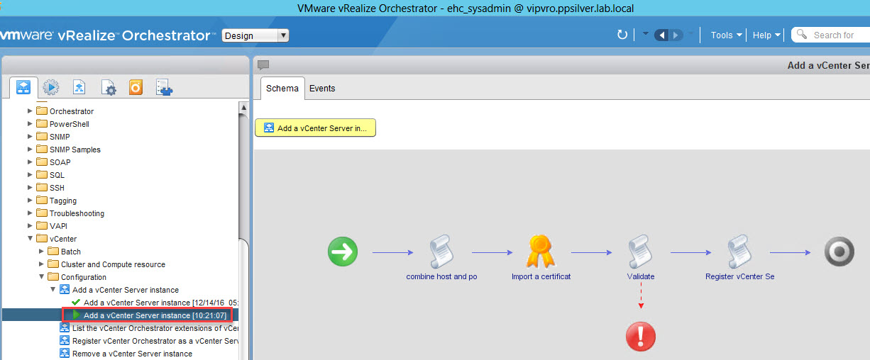 vRealize Orchestrator – Configure Connection to vCenter Server