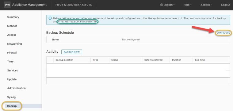 vcsa 6.7 schedule backup5