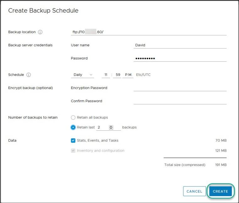 vcsa 6.7 schedule backup6