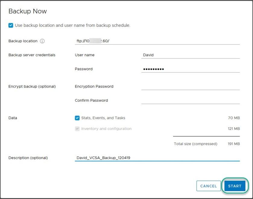 vcsa 6.7 schedule backup8